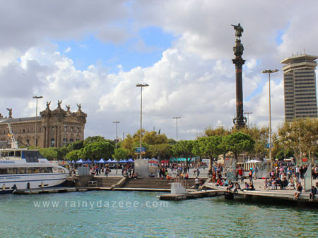 Port Vell (with Columbus Monument) in Barcelona, Sp